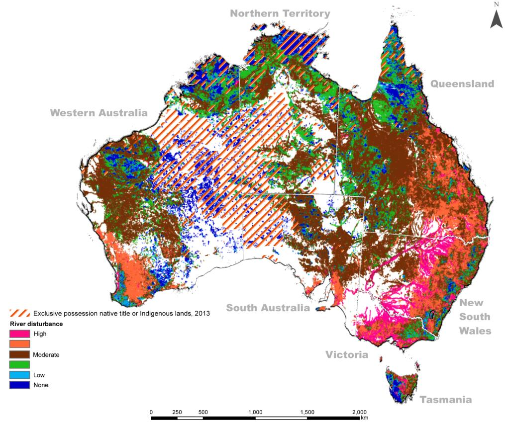 Altman 2014 figure 10 - Disturbance of riparian zones (2008) and Indigenous lands of exclusive possession
