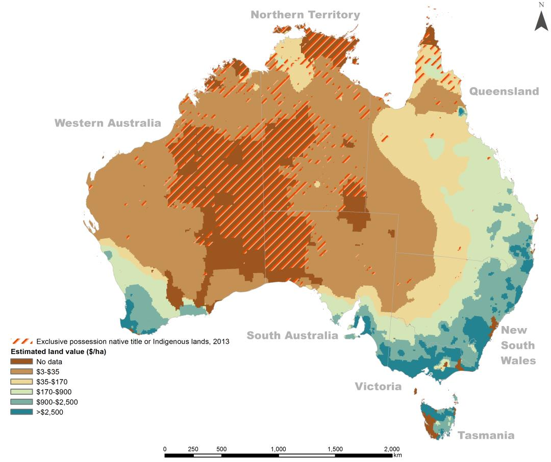 Altman 2014 figure 11 - Estimated property values and Indigenous lands of exclusive possession