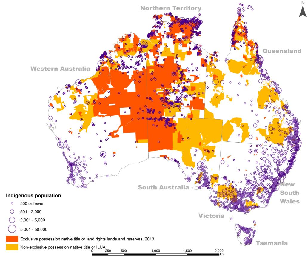 Altman 2014 figure 4 - Distribution of the Indigenous population from the 2011 Census and Indigenous land titles (2013)