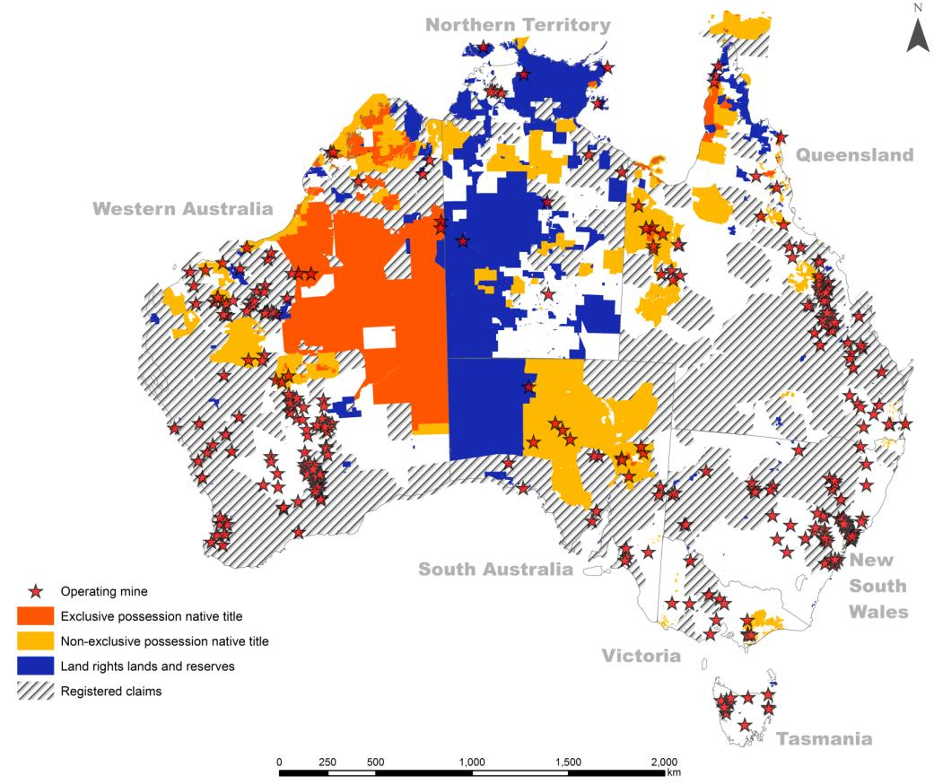 Altman 2014 figure 6 - Operating mines (2012) and Indigenous lands