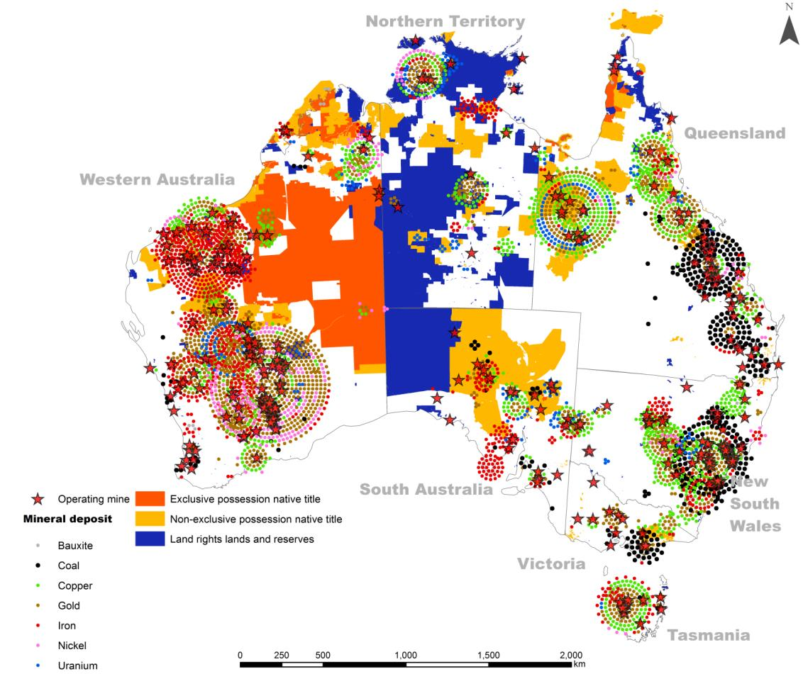 Altman 2014 figure 7 - Known mineral deposits (2006) and Indigenous lands