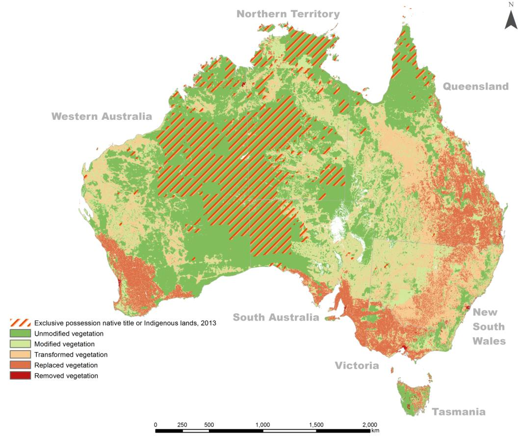 Altman 2014 figure 8 - Vegetation condition (2006) and Indigenous lands of exclusive possession