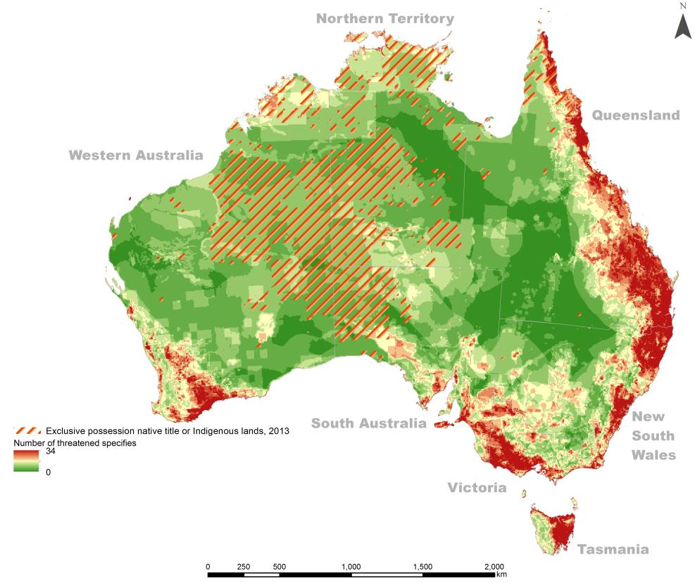Altman 2014 figure 9 - Threatened species count (2008) and Indigenous lands of exclusive possession